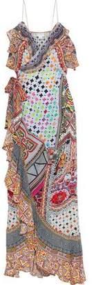 Camilla Girl's Club Embellished Printed Silk Maxi Wrap Dress