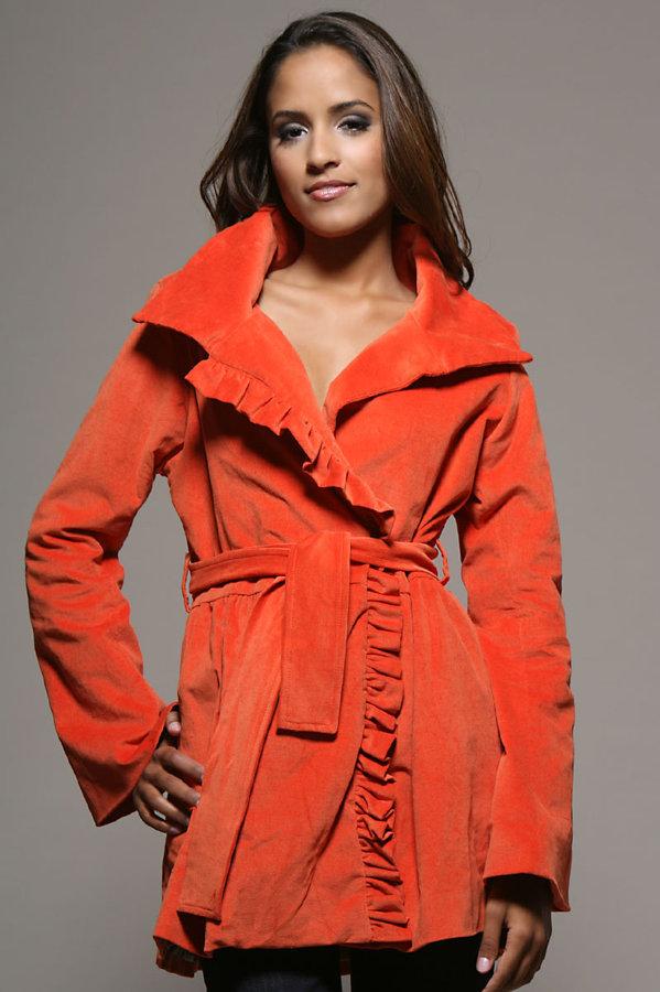 Kushcush Velvet Ruffle Front Wrap Trench Coat
