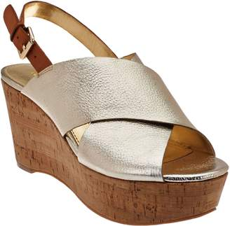 Marc Fisher Leather Cross-band Back-strap Wedges - Sesame