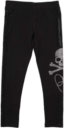 Philipp Plein Junior Skull Cotton Interlock Leggings