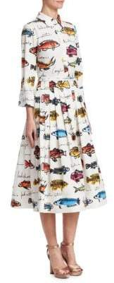 Oscar de la Renta Fish Print A-Line Shirt Dress
