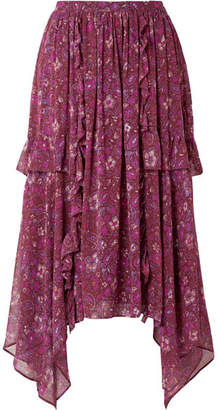 Ulla Johnson Torri Asymmetric Printed Silk-chiffon Skirt - Plum
