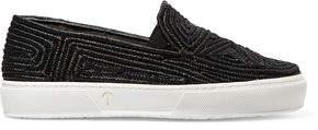 Clergerie Tribal Woven Raffia Slip-on Sneakers