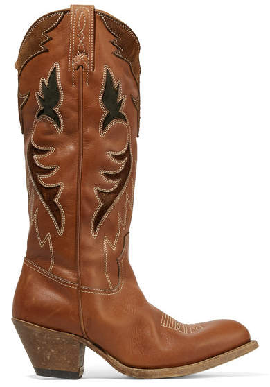 efcd27634de Golden Goose Suede-trimmed Embroidered Leather Knee Boots ( 1045). 18   20.  img SHOP. Old West 18119 Tan Fry Pink Boot ...