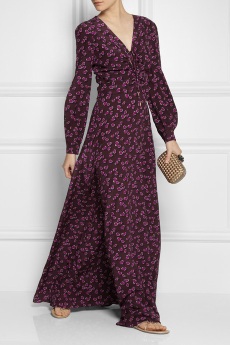 Heartbeat printed silk-crepe gown