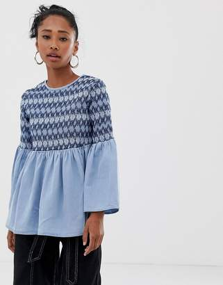 Asos DESIGN denim smock top with sheering detail