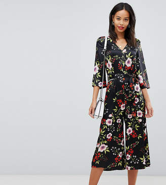 Influence Tall floral satin print jumpsuit with tie waist