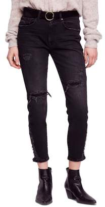 Free People About a Girl Ripped High Waist Crop Skinny Jeans