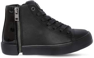 Diesel Zip-Round Nappa & Patent Leather Sneaker