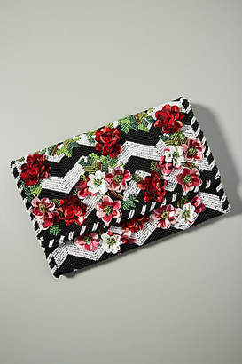 Anthropologie Climbing Roses Beaded Clutch