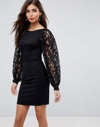Asos Design Mini Dress With Lace Top And Slash Neck