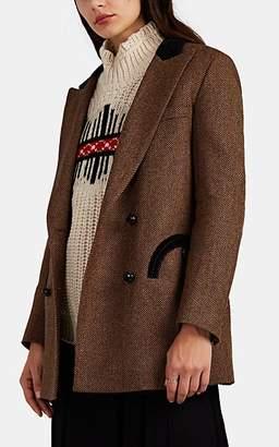 BLAZÉ MILANO Women's Lady Ann Velvet-Trimmed Wool Double-Breasted Blazer - Brown