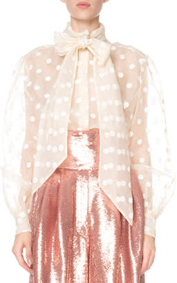 Marc Jacobs Bowed Polka Dot Organza Button-Front Blouse