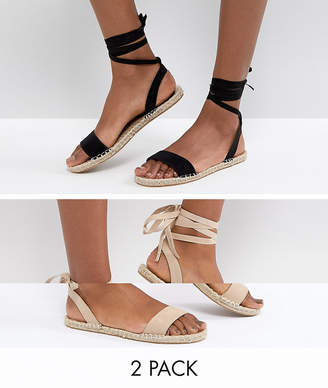 Asos Design JENICA Two Pack Espadrille Sandals