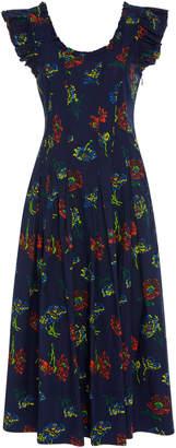 Ulla Johnson Camille Ruffled Printed Cotton-Poplin Midi Dress