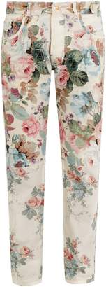 Loewe Floral-print slim-leg cotton trousers