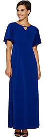 Susan Graver Petite Liquid Knit Maxi Dress w/Flutter Sleeves