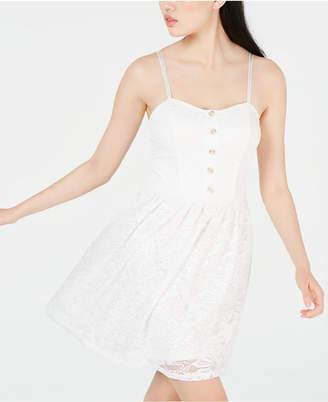BCX Juniors' Button-Front Lace Fit & Flare Dress