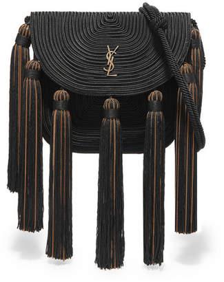 Saint Laurent Tasseled Woven Shoulder Bag - Black