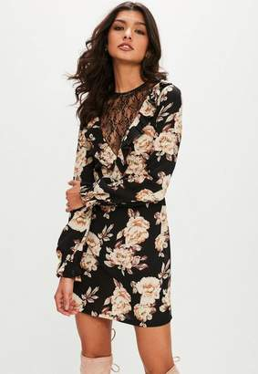 Missguided Black Large Floral Print Lace Insert Dress