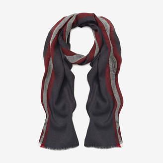 Bally Stripe Wool Scarf Grey, Men's wool scarf in grey medium