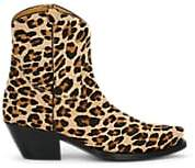 R 13 Men's Leopard-Print Calf Hair Cowboy Boots - Med. brown