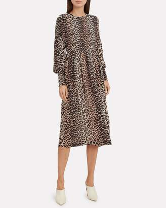 Ganni Printed Georgette Smocked Leopard Dress