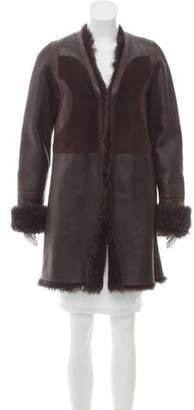 Calvin Klein Collection Shearling Colorblock Coat