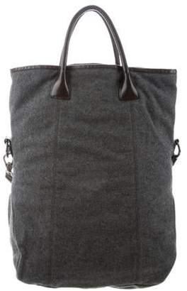 Brunello Cucinelli Wool Foldover Satchel Grey Wool Foldover Satchel