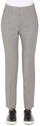 Akris Conny Fil-a-Fil Wool Slim Ankle Pants