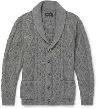 Howlin' Shawl-Collar Cable-Knit Wool Cardigan