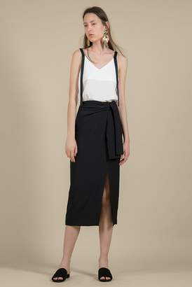 Genuine People Belted High Waist Midi Skirt
