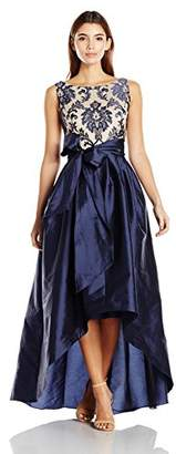 Adrianna Papell Women's Petite Embroidered Lacetaffeta Ball Gown