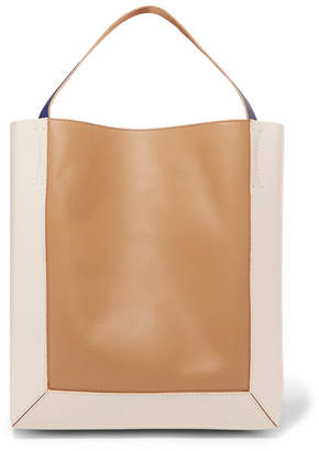Marni Frame Color-block Leather Tote - Beige