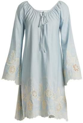 Athena Procopiou - Gypset Floral Embroidered Cotton Dress - Womens - Light Blue