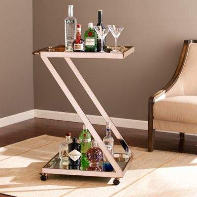Rose Gold Z-Shaped Metal and Mirror Bar Cart