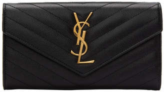 Saint Laurent Black Large Monogramme Wallet