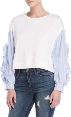 Romeo & Juliet Couture Romeo + Juliet Couture Striped Sleeve Mix Media Top
