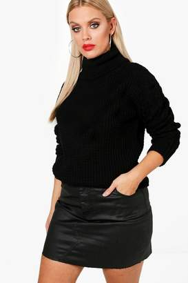 boohoo Plus Cinta Cable Sleeve Turtle Neck Jumper