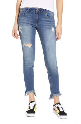 1822 Denim Ripped Shark-Bite Hem Skinny Jeans