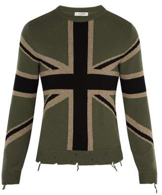 Valentino Union Flag Cashmere Sweater - Mens - Green