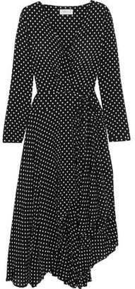 Zimmermann Asymmetric Polka-Dot Crepe Wrap Midi Dress