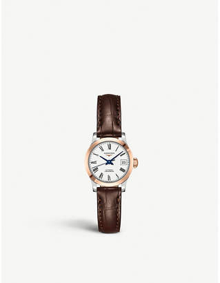 Longines L2.320.5.11.2 Record leather and rose gold-plated stainless steel watch