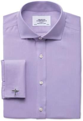 Charles Tyrwhitt Slim Fit Spread Collar Non-Iron Twill Lilac Cotton Dress Shirt Single Cuff Size 15/34