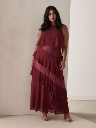 A-Line Maxi Dress with Asymmetrical Ruffles