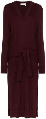 Chloé V-neck knitted waist tie wool dress