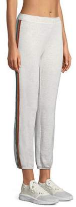 Monrow Rainbow-Stripe Full-Length Sweatpants
