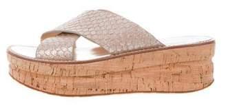 Sigerson Morrison Embossed Crossover Sandals