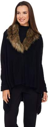 Dennis Basso Drape Front Sweater with Removable Faux Fur Collar
