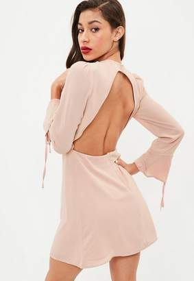Missguided Nude Long Sleeve Open Back Skater Dress